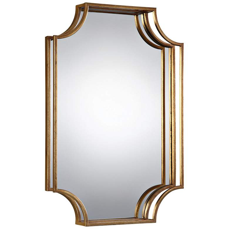 "Uttermost Lindee Gold Leaf 20"" x 29 3/4"" 3D Wall Mirror"
