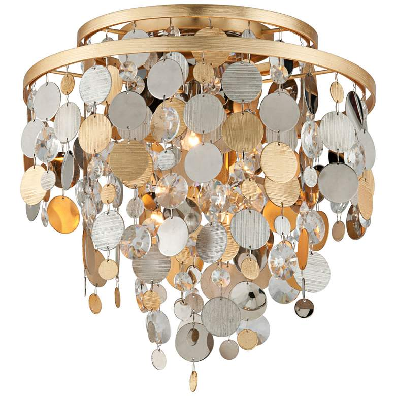 """Corbett Ambrosia 18"""" Wide Gold and Silver Leaf Ceiling Light"""