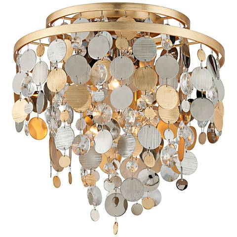 "Corbett Ambrosia 18"" Wide Gold and Silver Leaf Ceiling Light"