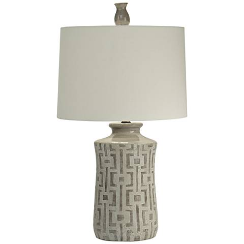 Natural Light Que Hand-Thrown Gray Ceramic Table Lamp