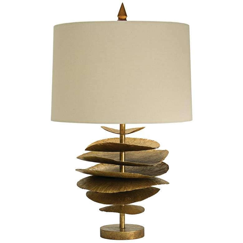Natural Light Lily Pad Gilded Gold Iron Metal Table Lamp