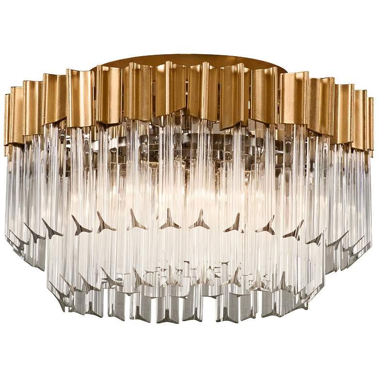 "Corbett Charisma 18"" Wide Gold Leaf Ceiling Light"