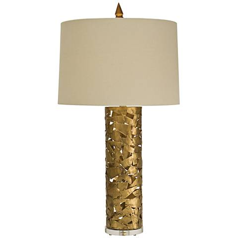 Natural Light Confetti Gilded Gold Iron Column Table Lamp