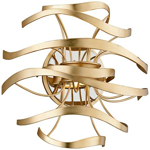 "Corbett Calligraphy 12"" High Gold Leaf LED Wall Sconce"