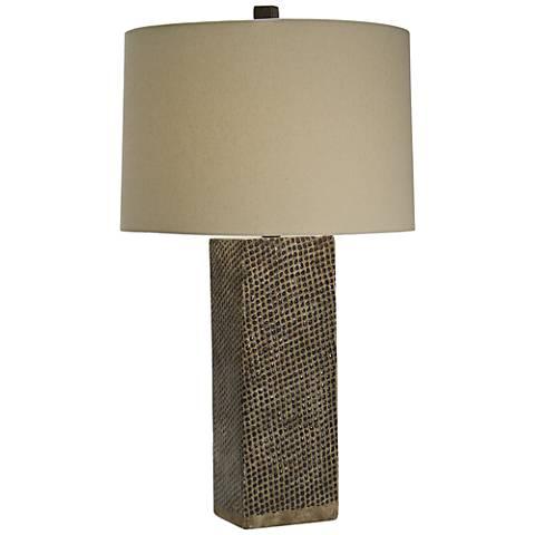 Natural Light Castaway Square Ceramic Table Lamp