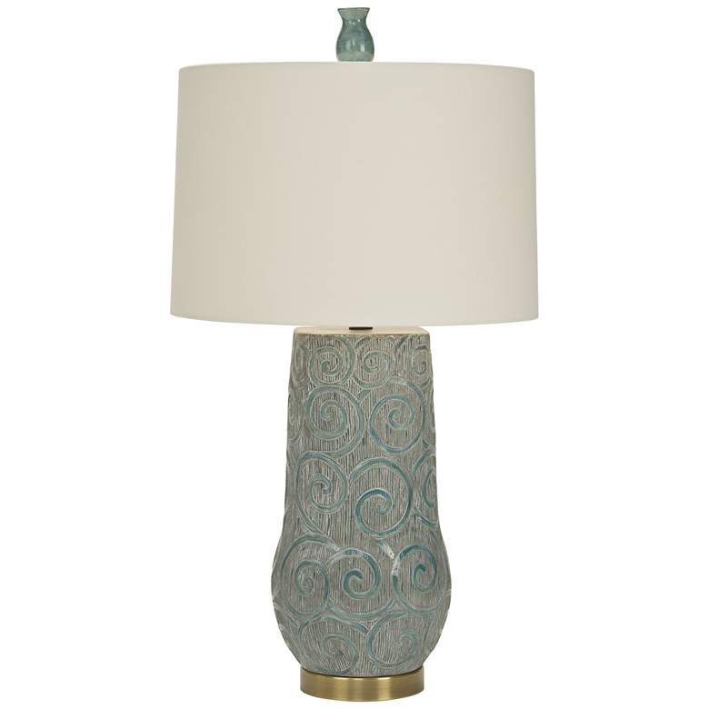 Natural Light Simone Bleu Gray and Aqua Bronze Table Lamp
