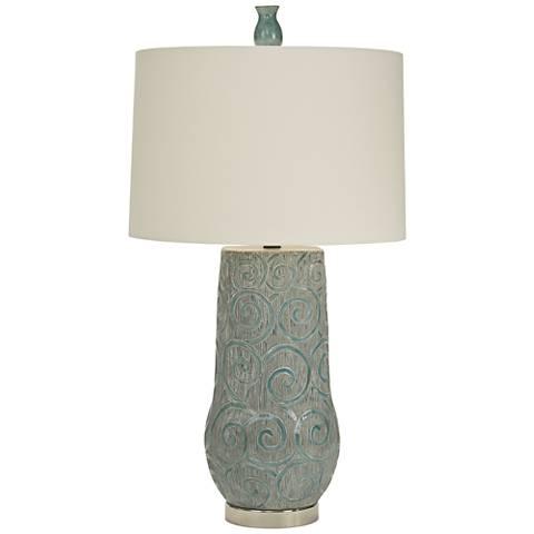 Natural Light Simone Blue Gray and Aqua Nickel Table Lamp