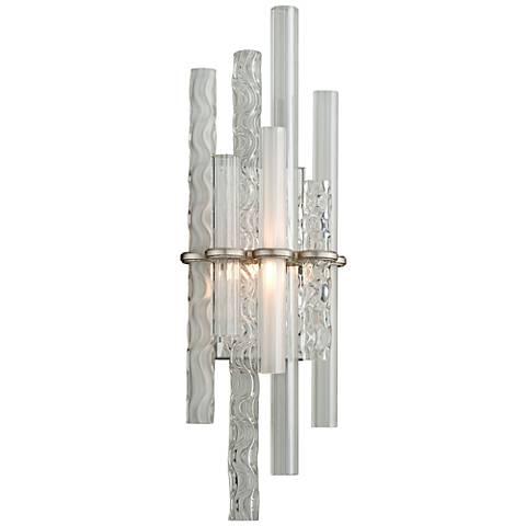 "Corbett Manhattan 27"" High Satin Silver Leaf LED Wall Sconce"