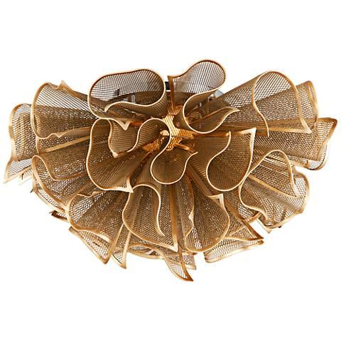 """Corbett Pulse 23 1/4"""" Wide Gold Leaf LED Ceiling Light"""
