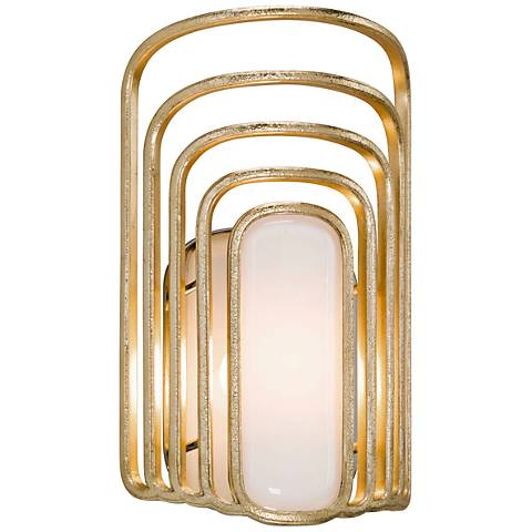 "Corbett Socialite 12 3/4"" High Gold Leaf LED Wall Sconce"