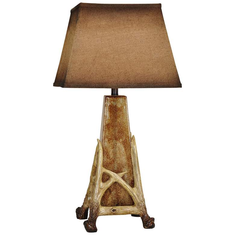Crestview Collection Antler Cage Antique Glass Table Lamp