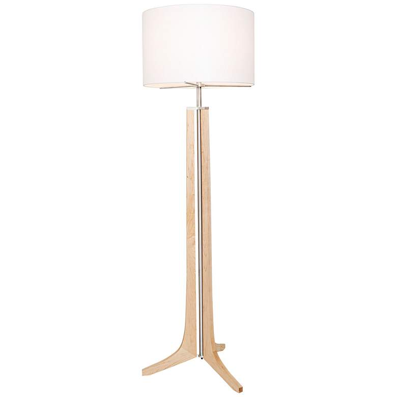 Cerno Forma Maple with White Shade LED Floor Lamp