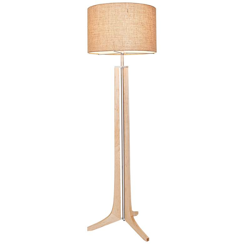 Cerno Forma Maple with Burlap Shade LED Floor