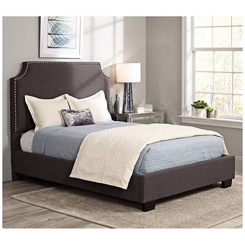 Newport Graphite Linen Hand-Crafted Upholstered Bed
