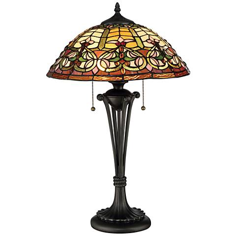 Quoizel Tiffany Style Flowing Heart Bronze Table Lamp