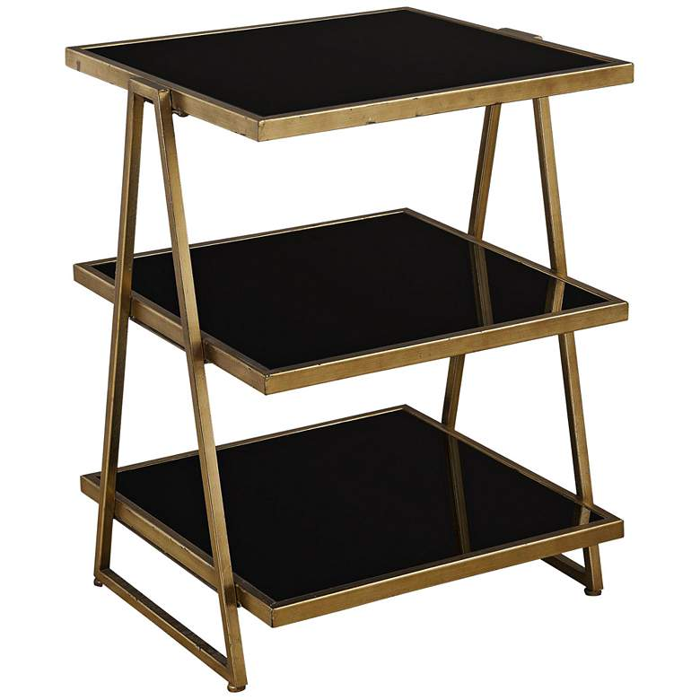 """Garrity 20"""" Wide Gold Leaf and Black Tiered Accent Table"""