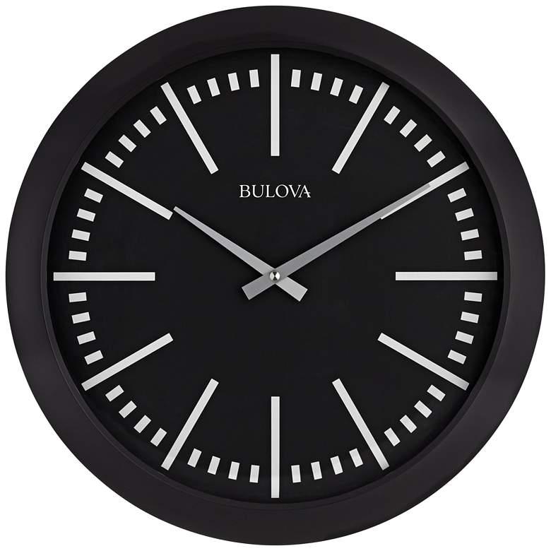 "Bulova Sound Around Matte Black 16""W Bluetooth Wall Clock"