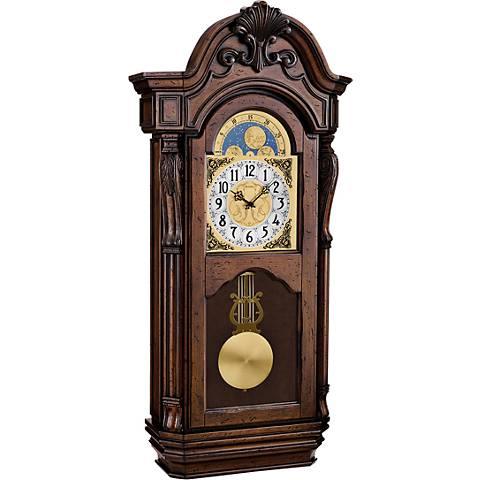 "Bulova Tamlen Aged Dark Cherry 36"" High Wall Clock"
