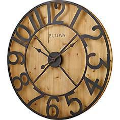Bulova Silhouette Natural Pine 28 3 4 Round Wall Clock