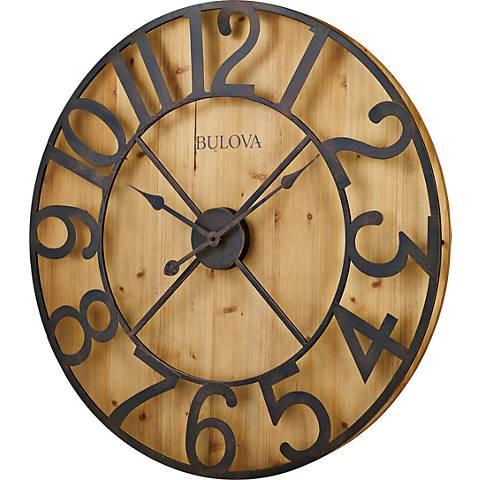 "Bulova Silhouette Natural Pine 28 3/4"" Round Wall Clock"