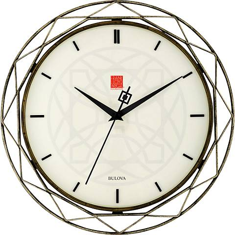 "Bulova Luxfer Prism Aged Bronze 14"" Round Wall Clock"