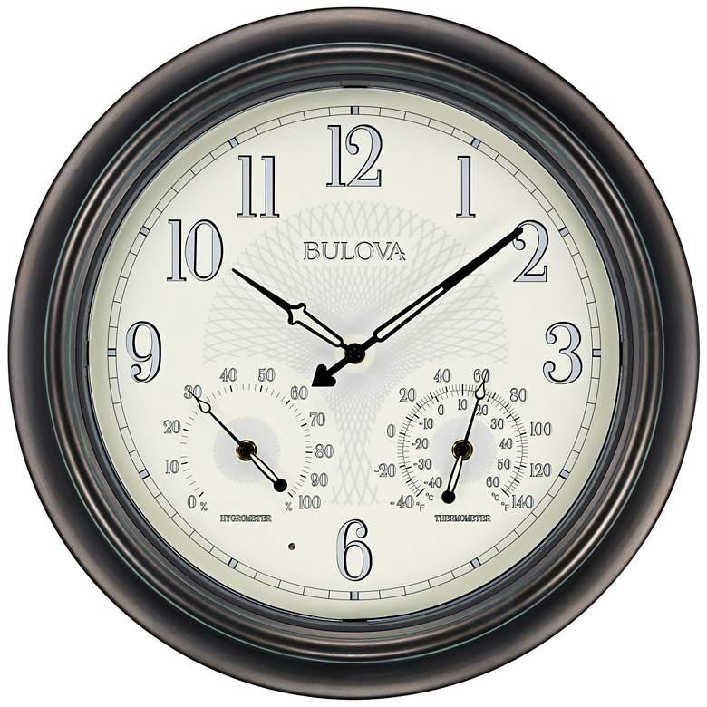 "Bulova Weather Master Oiled Bronze 18"" Round Wall Clock"