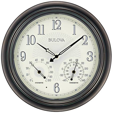 "Bulova Weather Master Oiled Bronze 18"" Round Wall Clock"
