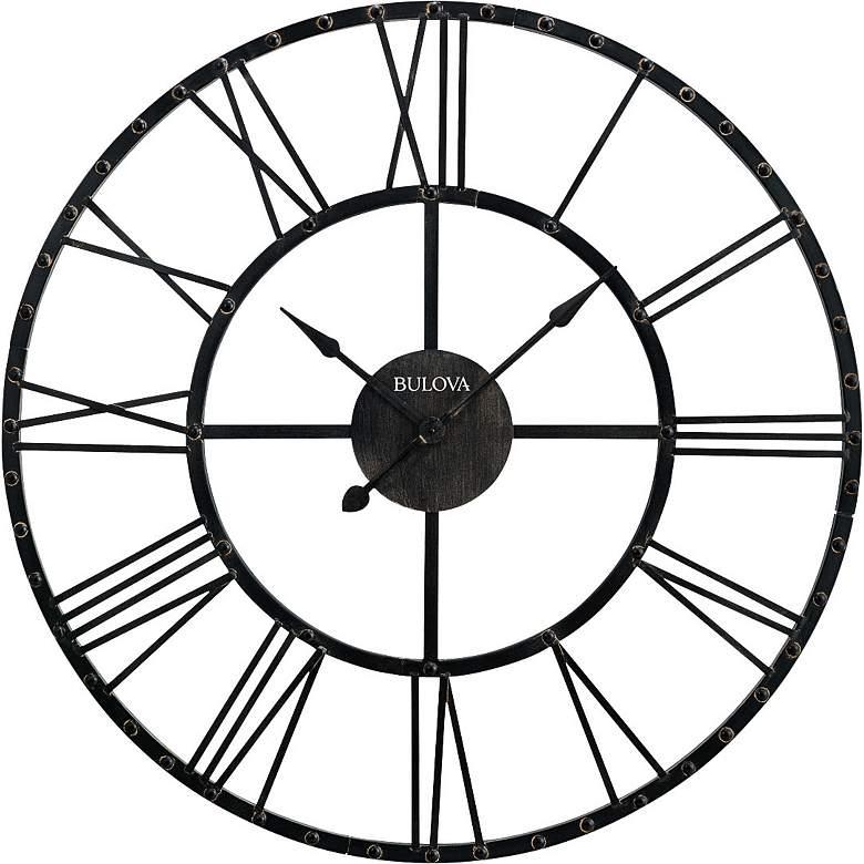 "Bulova Carmen Aged Iron 45"" Round Wall Clock"