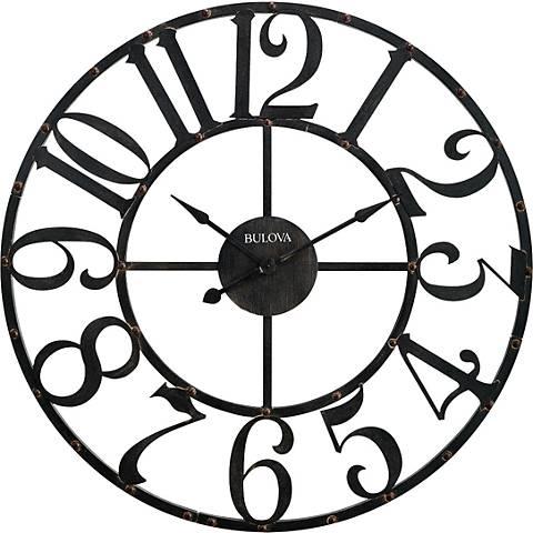 "Bulova Gabriel Aged Iron 45"" Round Wall Clock"