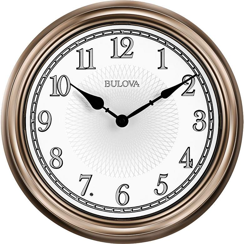 "Bulova Light Time Champagne 14"" Round Wall Clock"