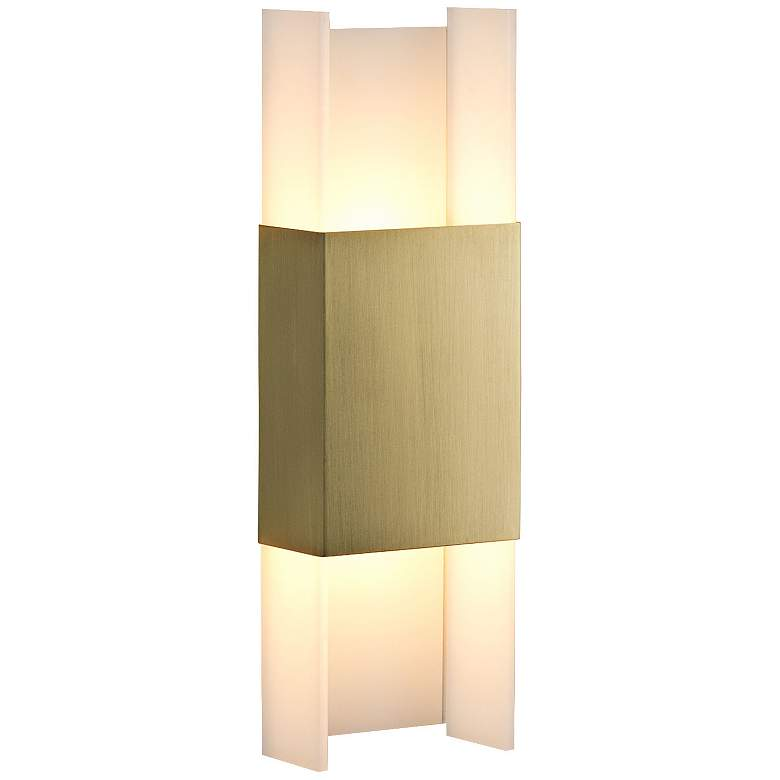 """Cerno Ansa 15 1/2"""" High Brushed Brass LED Wall Sconce"""