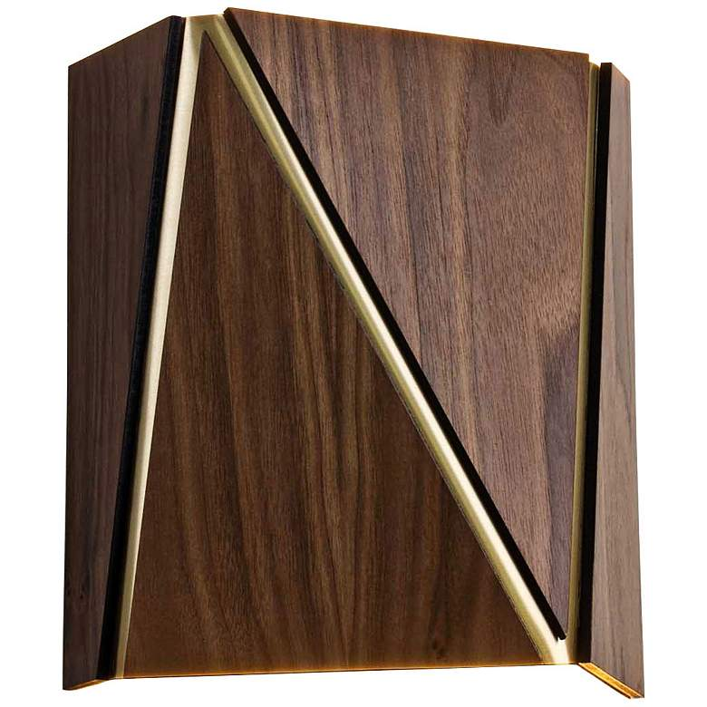 """Cerno Calx 9"""" High Dark Stained Walnut LED Wall Sconce"""