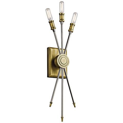 "Kichler Doncaster 23"" High Natural Brass 3-Light Wall Sconce"