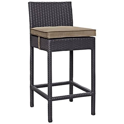 "Lift 27 1/2"" Mocha Fabric Espresso Outdoor Patio Barstool"