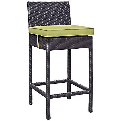 "Lift 27 1/2"" Peridot Fabric Espresso Outdoor Patio Barstool"