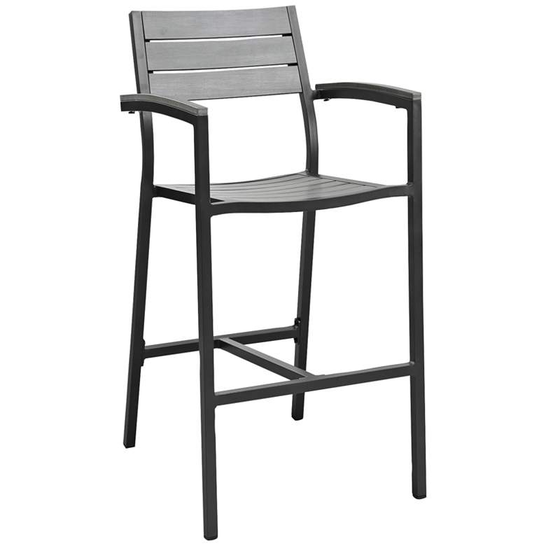"Maine 29"" Brown and Gray Outdoor Patio Barstool"