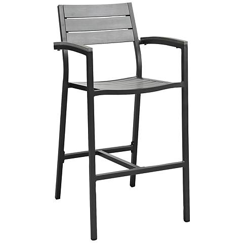 """Maine 29"""" Brown and Gray Outdoor Patio Barstool"""