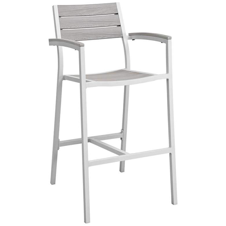 """Maine 29"""" White Light and Gray Outdoor Patio Barstool"""