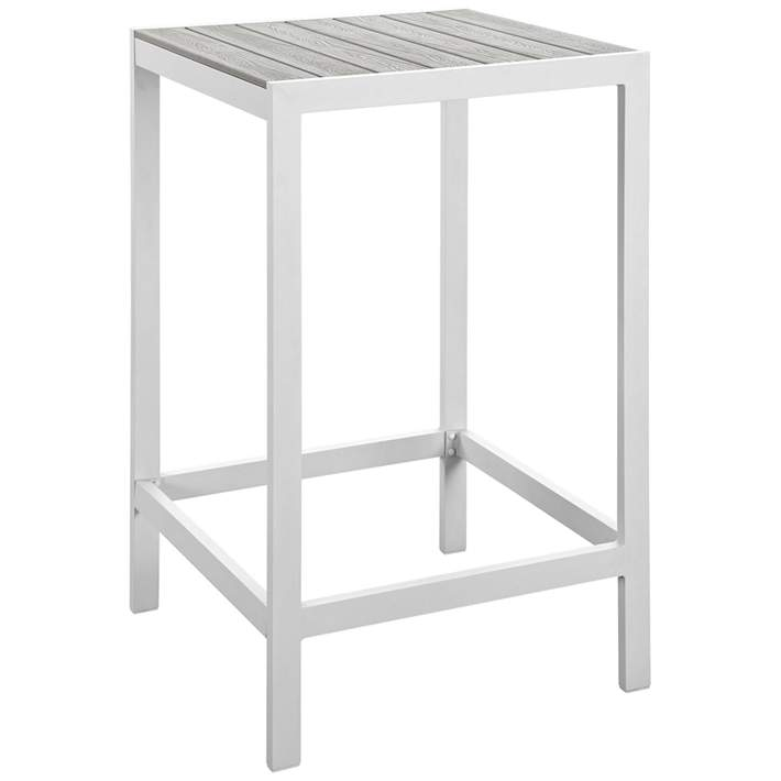 maine white light and gray square outdoor patio bar table