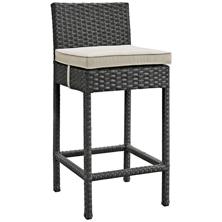 "Sojourn 27 1/2"" Canvas Beige Fabric Outdoor Patio Barstool"