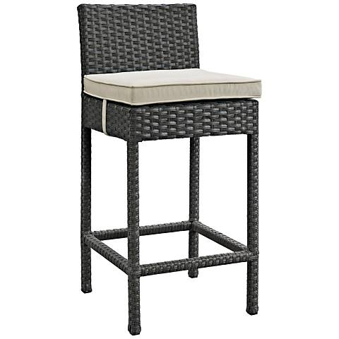 """Sojourn 27 1/2"""" Canvas Beige Fabric Outdoor Patio Barstool"""