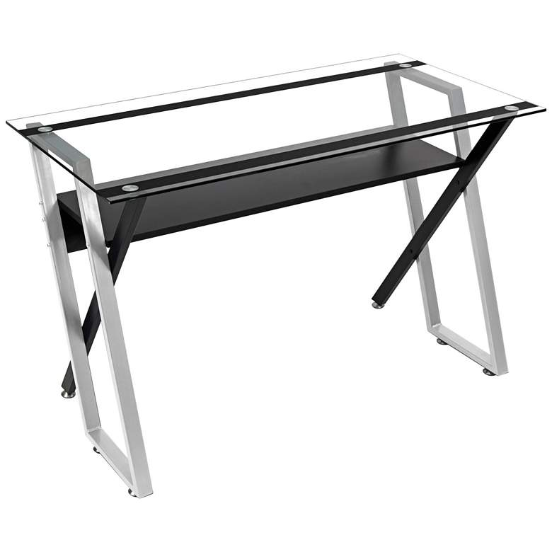"Colorado 66"" Wide Black and Silver Modern Office Desk"
