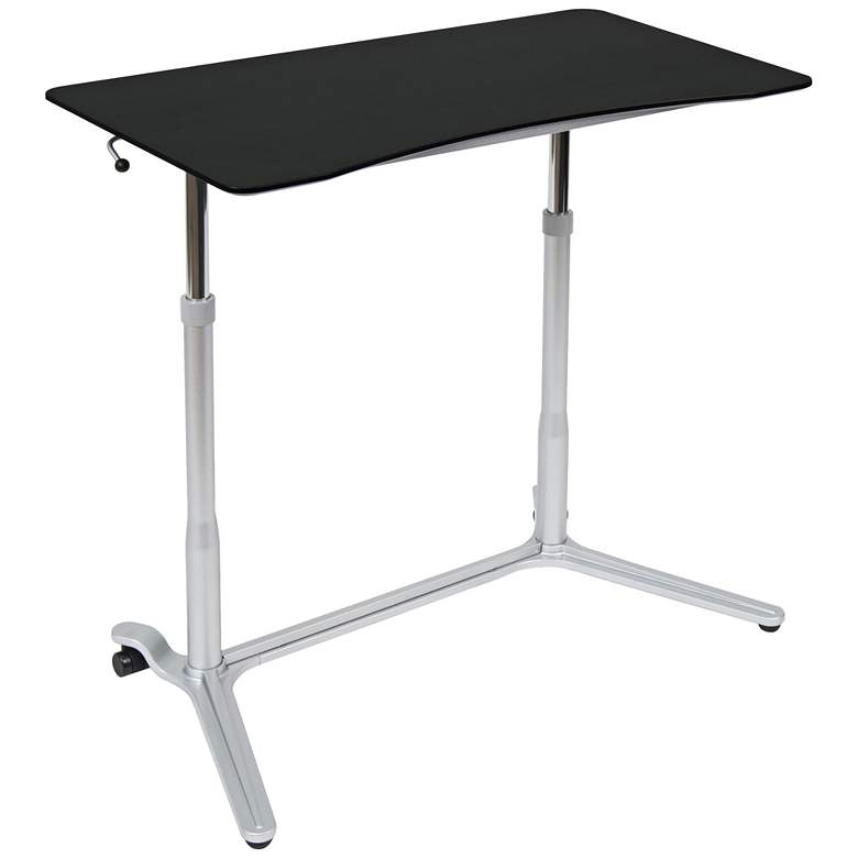 "Calico 37 1/2"" Wide Silver and Black Adjustable Height Desk"