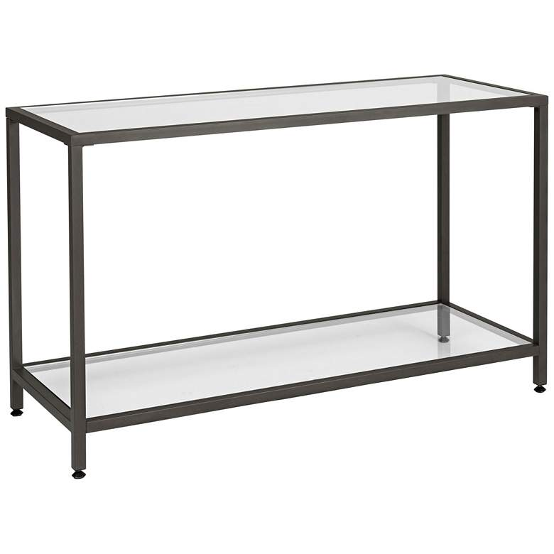 """Studio Designs 47"""" Wide Pewter Finish Glass Console Table"""