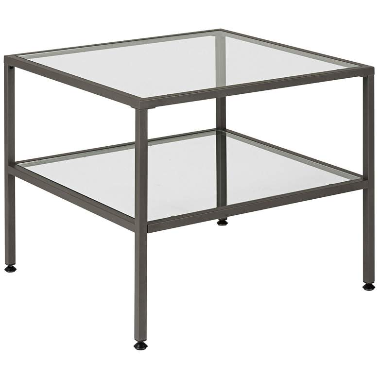 """Studio Designs 25"""" Wide Pewter Finish Glass End Table"""