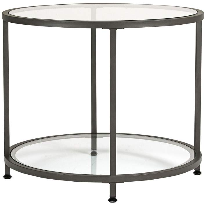 Studio Designs 26 Wide Pewter Finish Round End Table