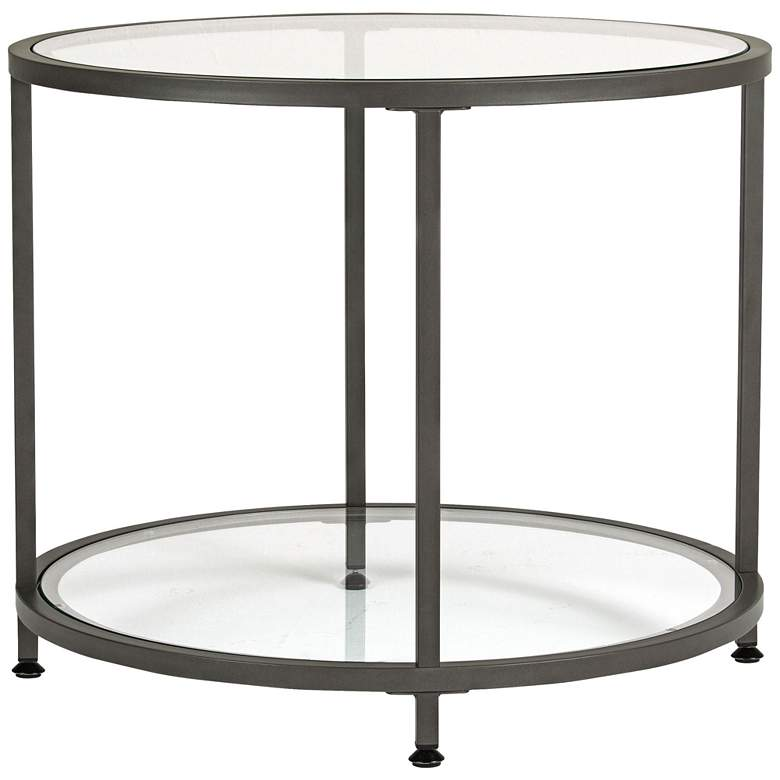 "Studio Designs 26"" Wide Pewter Finish Round End Table"