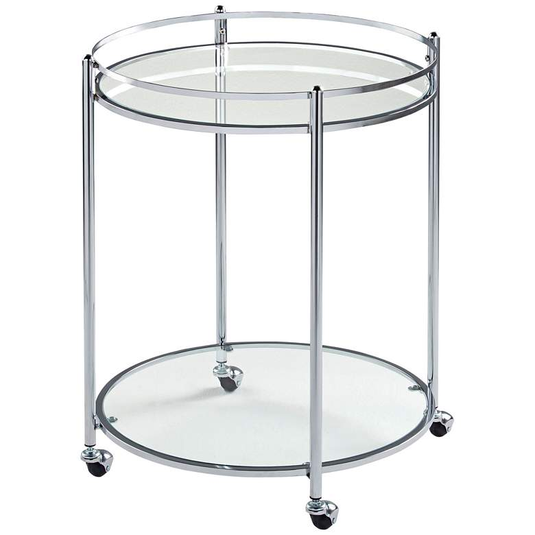 """Home Veranda 24"""" Wide Chrome and Glass Round Modern Bar Cart"""