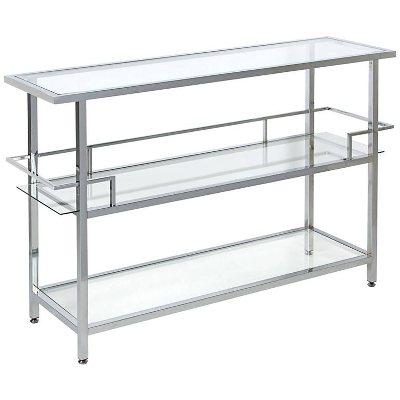 """Portico 52"""" Wide Chrome and Glass Modern Console Table"""