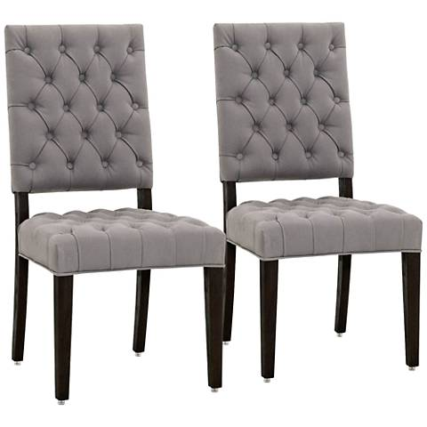 James Ash Linen and Solid Oak Wood Dining Chair Set of 2